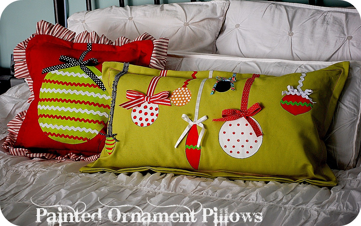 Christmas project make painted ornament pillows my blog for Holiday project