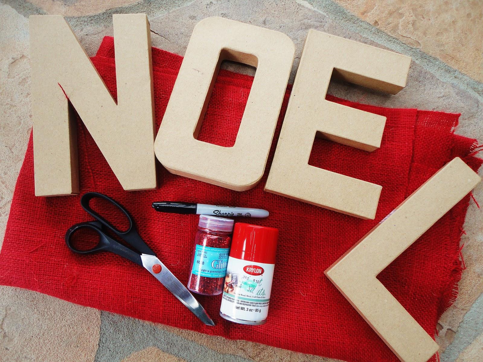 guest project make glittered burlap paper mache letters