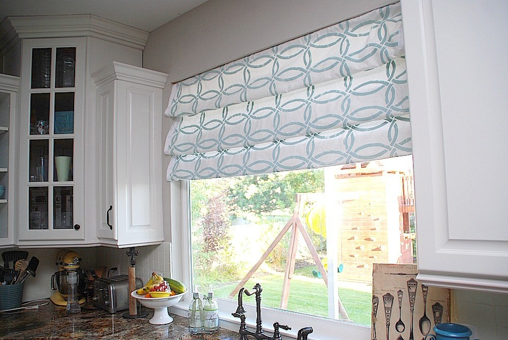Stenciled faux roman shades tutorial kitchen sneak for Fabric shades for kitchen windows