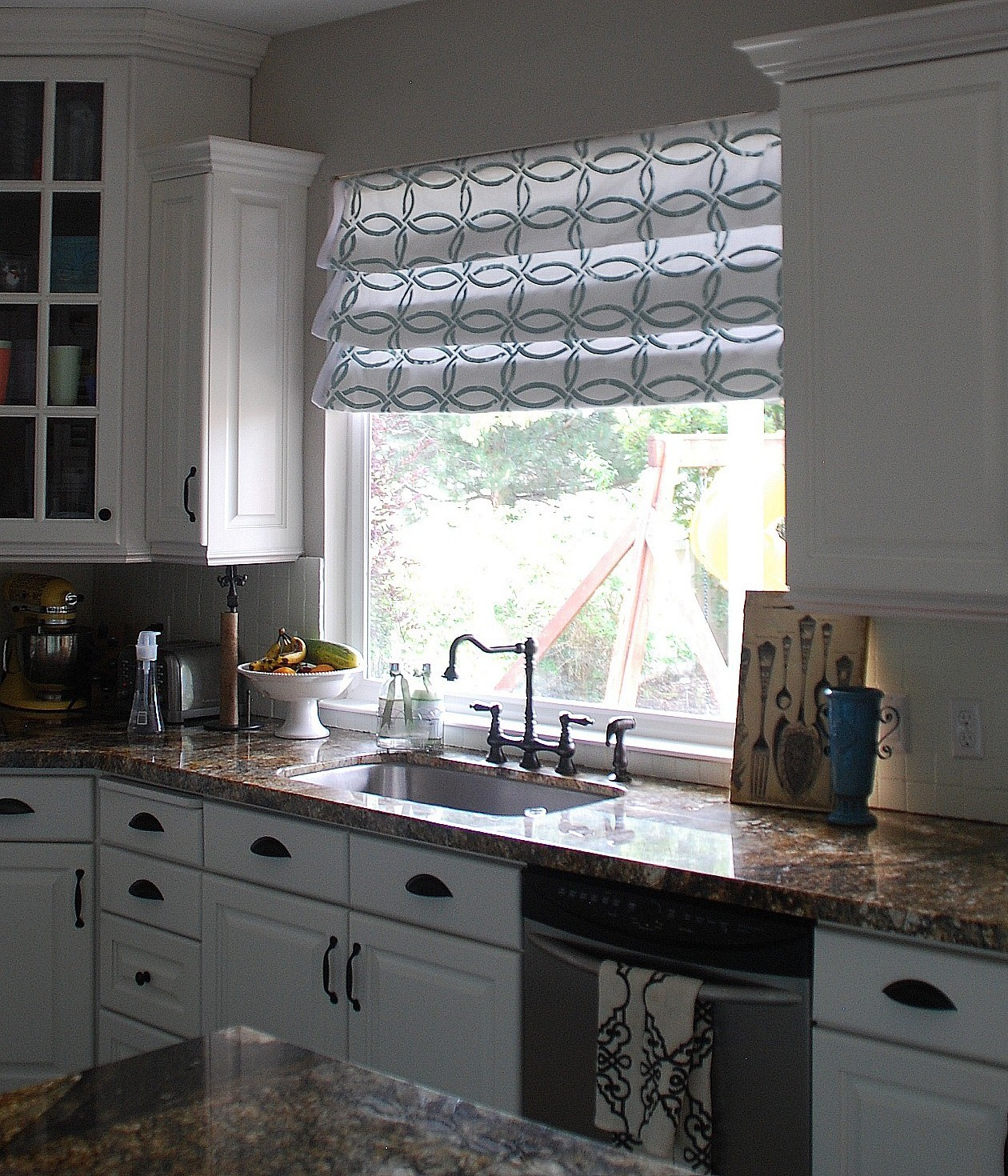 Stenciled faux roman shades tutorial kitchen sneak for Kitchen window curtains