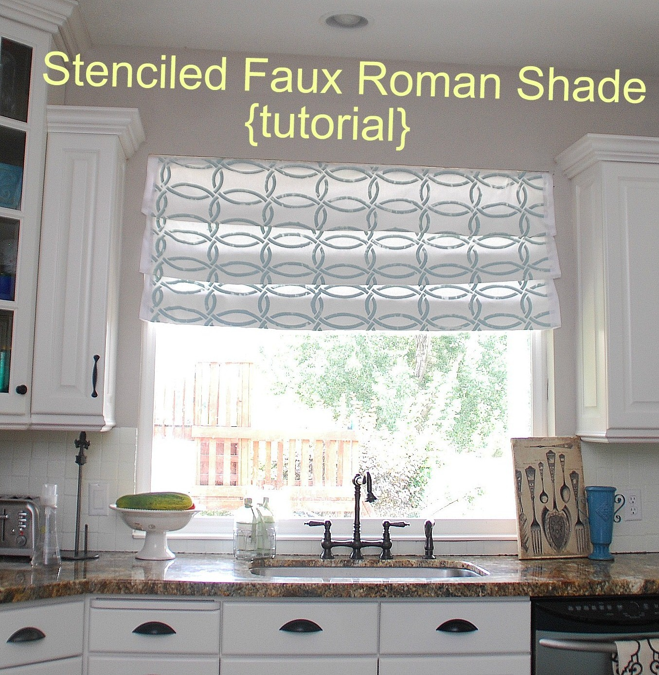 Stenciled faux roman shades tutorial kitchen sneak for Curtains that look like roman shades